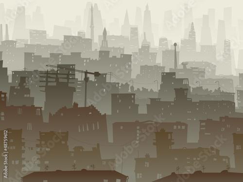 Naklejka Streszczenie ilustracji z wielkiego miasta, w zmierzchu.