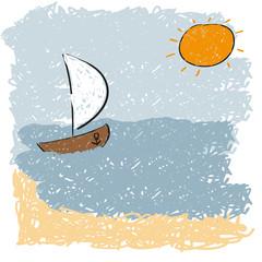sea waves and rising sun