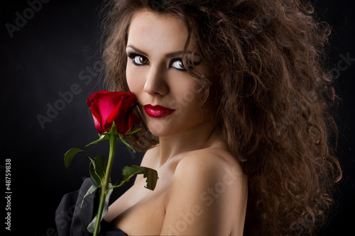portrait of a  girl with rose