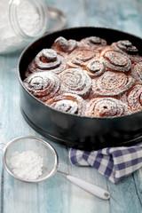 Zimtschnecken Kuchen in der Form