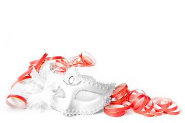 maschera bianca stelle filanti