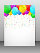 Card with multicolored balloons. Vector illustration.