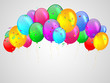 Background with multicolored balloons. Illustration.