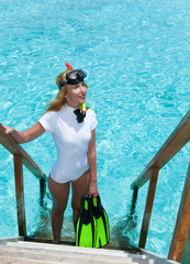 Young pretty woman with flippers, mask and tube. .Maldives.