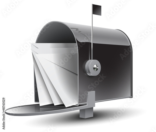 Open Grey Mailbox with Letters