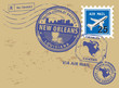 Post stamps set with name of Louisiana, New Orleans, vector