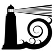Lighthouse in sea symbol, vector illustration