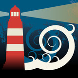 Lighthouse in sea, vector illustration