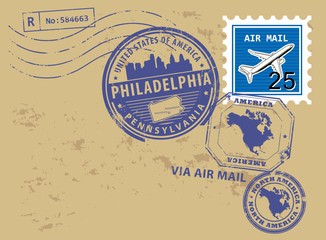 Post stamps set with name of Pennsylvania, Philadelphia, vector