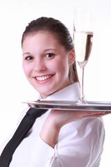 Kellnerin mit Sektglas