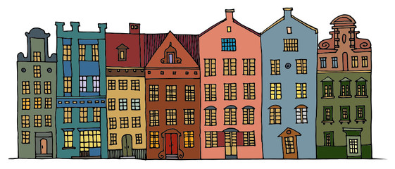 Cartoon hand drawing color houses