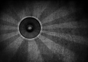 Black and white grunge starburst speaker