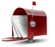 Open Red Mailbox with Letters