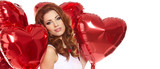 woman with red heart balloon on a white background