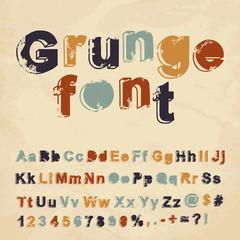 Retro grunge font. Vector illustration.