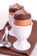 chocolate mousse in egg cup