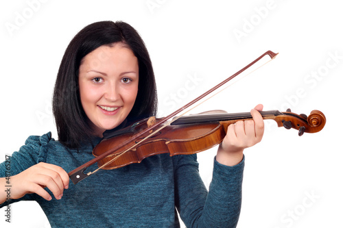 happy teenage girl play violin