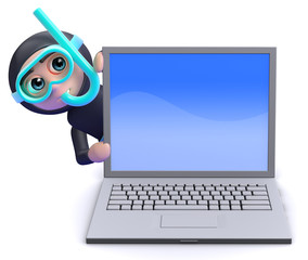 Scuba guy is behind a laptop