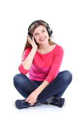 Woman with headphones listening music. Music teenager girl