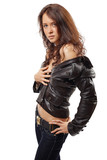 Portrait of an attractive young woman in a leather jacket
