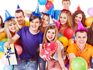 Group people with balloon on party.