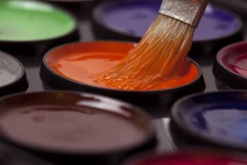 colored paints. Watercolors