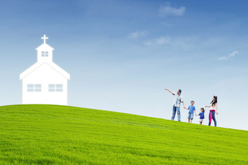 Christian family go to Church