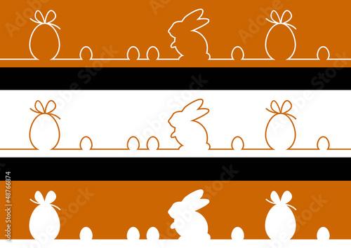 3 Frises oeufs et lapin - couleur chocolat - Pâques