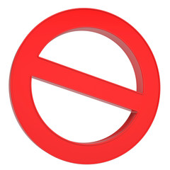 Red prohibitory sign