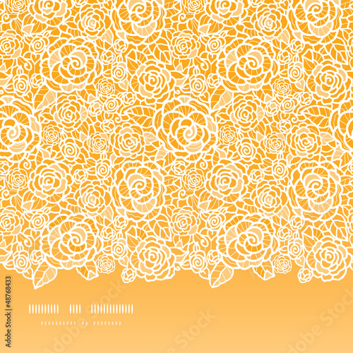 Vector golden lace roses horizontal seamless pattern background