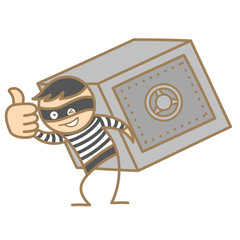 cartoon character of burglar carrying money box