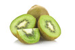 kiwi fruit and his sliced close up on white