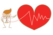 cartoon character of doctor listen to heart beat