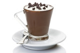 hot coffee with milk cream and chocolate pieces