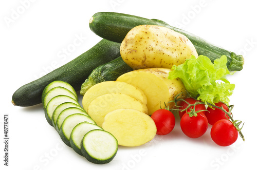 fresh vegetables close up on the white background
