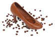Chocolate Women's shoes and spilled coffee beans