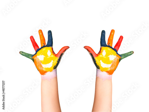 The two colorful hands with smile