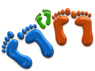 Colorful footprints of family