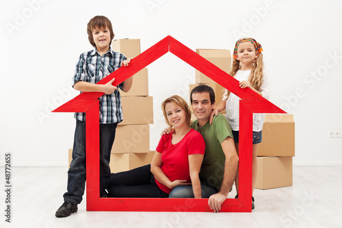 Family in their new home concept
