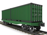 Railway wagon for transportation of containers