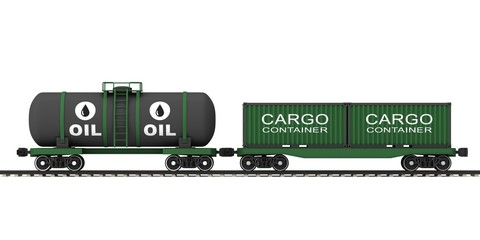 Freight train with wagons for the transport.