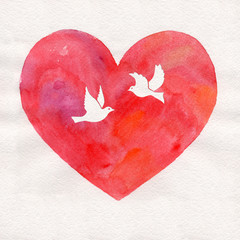 watercolor heart background with birds