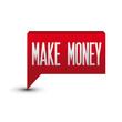 Make money red button speech bubble