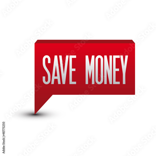 Save money red button speech bubble