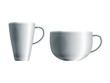 Realistic drawing of two blank white ceramic cups. Eps10