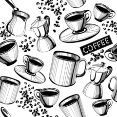 Seamless hand drawn coffee pattern