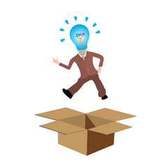 Think out of the box or thinking outside the box concept