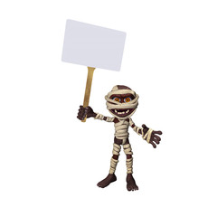 Little Mummy Holding a Sign