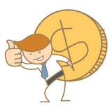 cartoon character of business man carrying big dollar coin