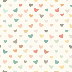 Retro Pattern with Colorful Hearts